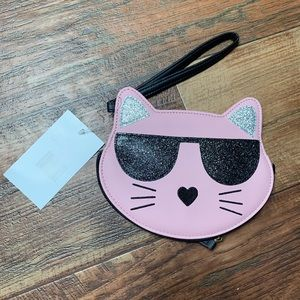 Kitty Cat Wristlet Betsy Johnson Glitter Pink